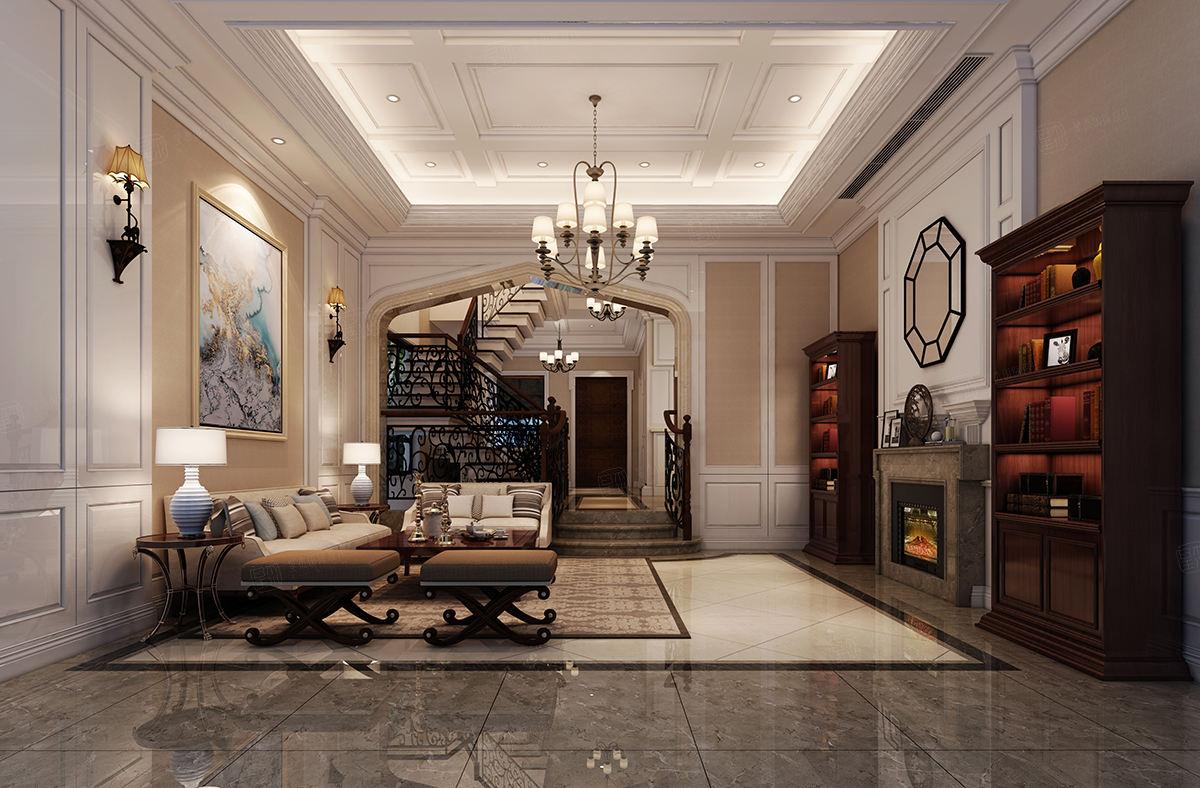 馥园 新美式装修客厅效果图