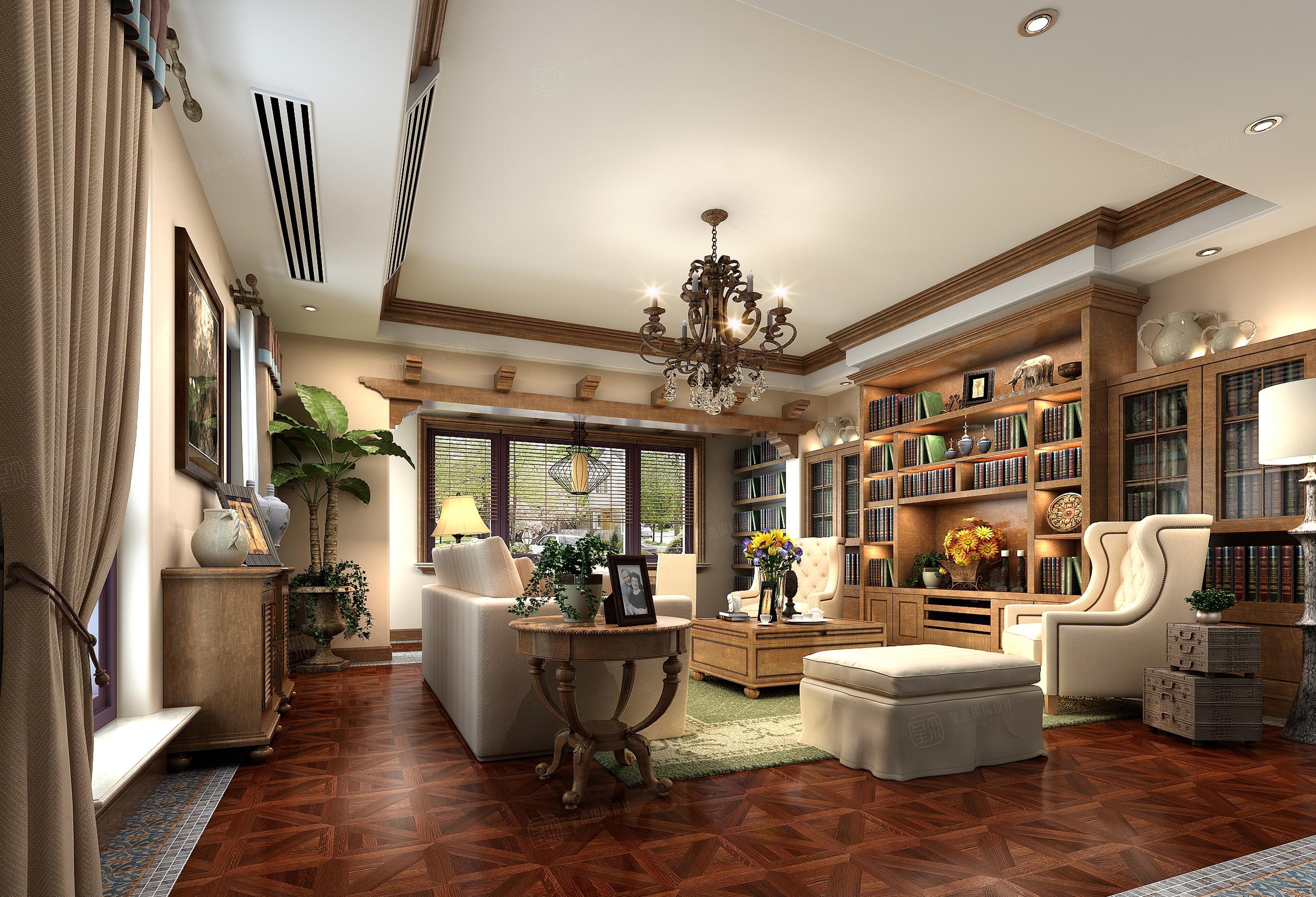 长泰西郊别墅 美式装修起居室效果图