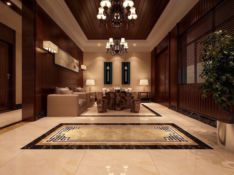 新中式-谷里别墅装修客厅效果图