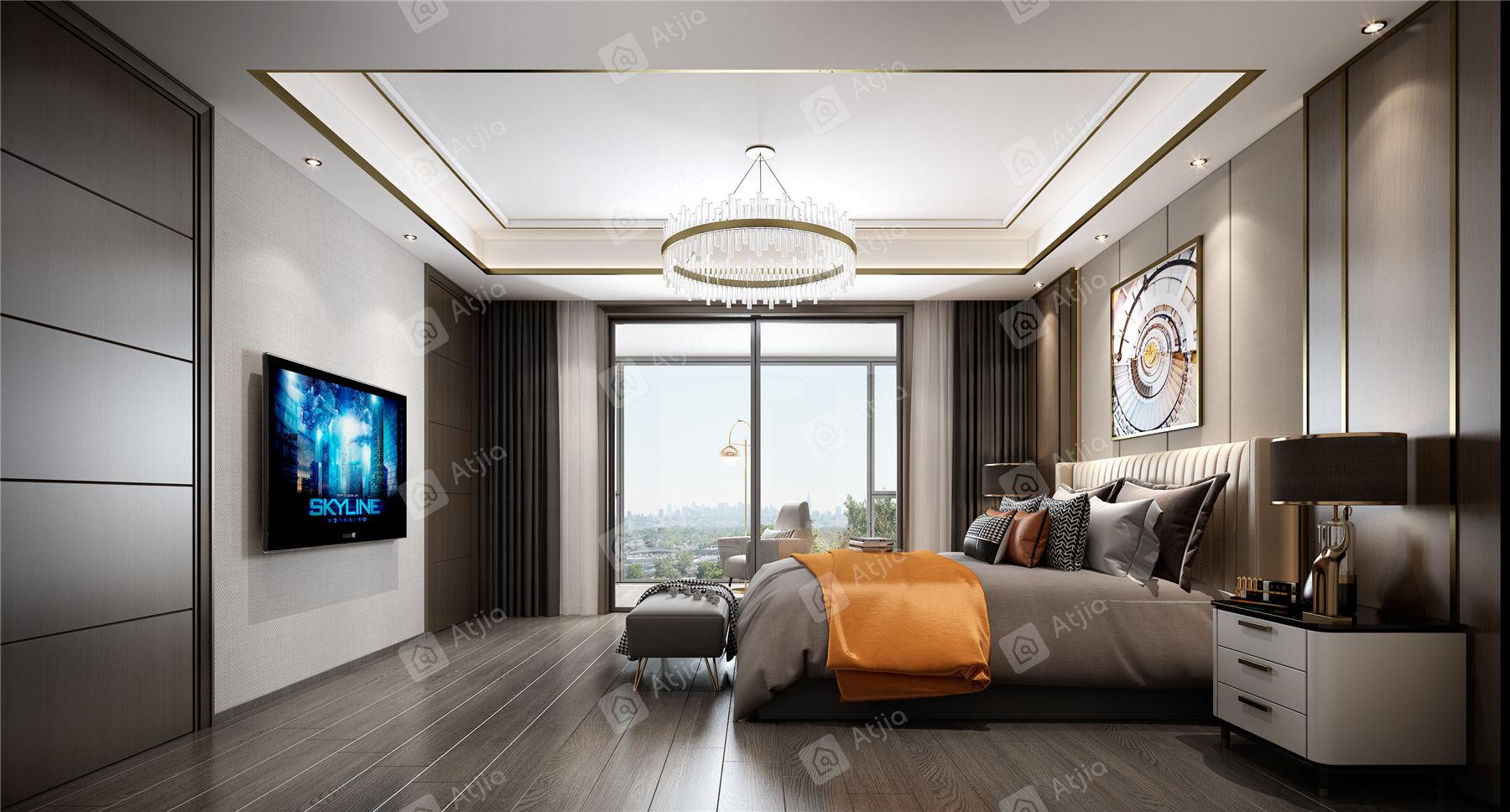 中海铂樾府 现代简约装修卧室效果图