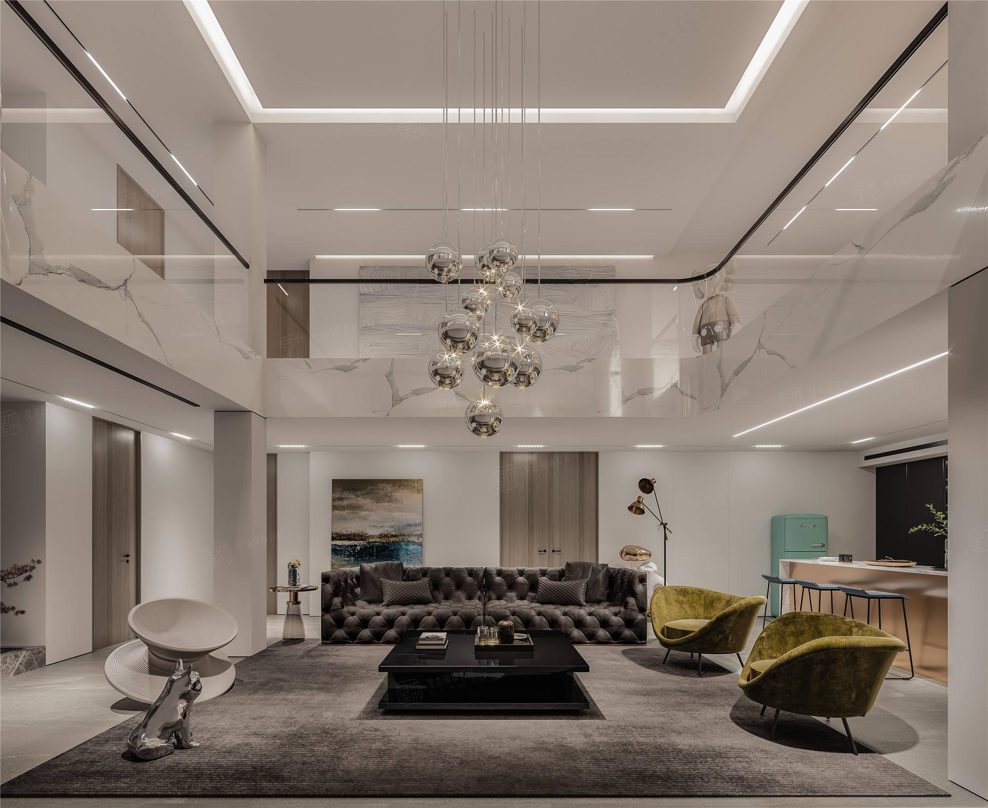 上海桃花源   现代风格装修客厅效果图