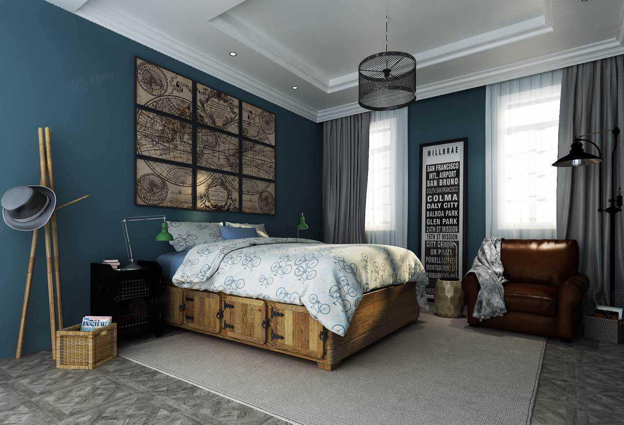 绿城玫瑰园 欧式装修卧室效果图
