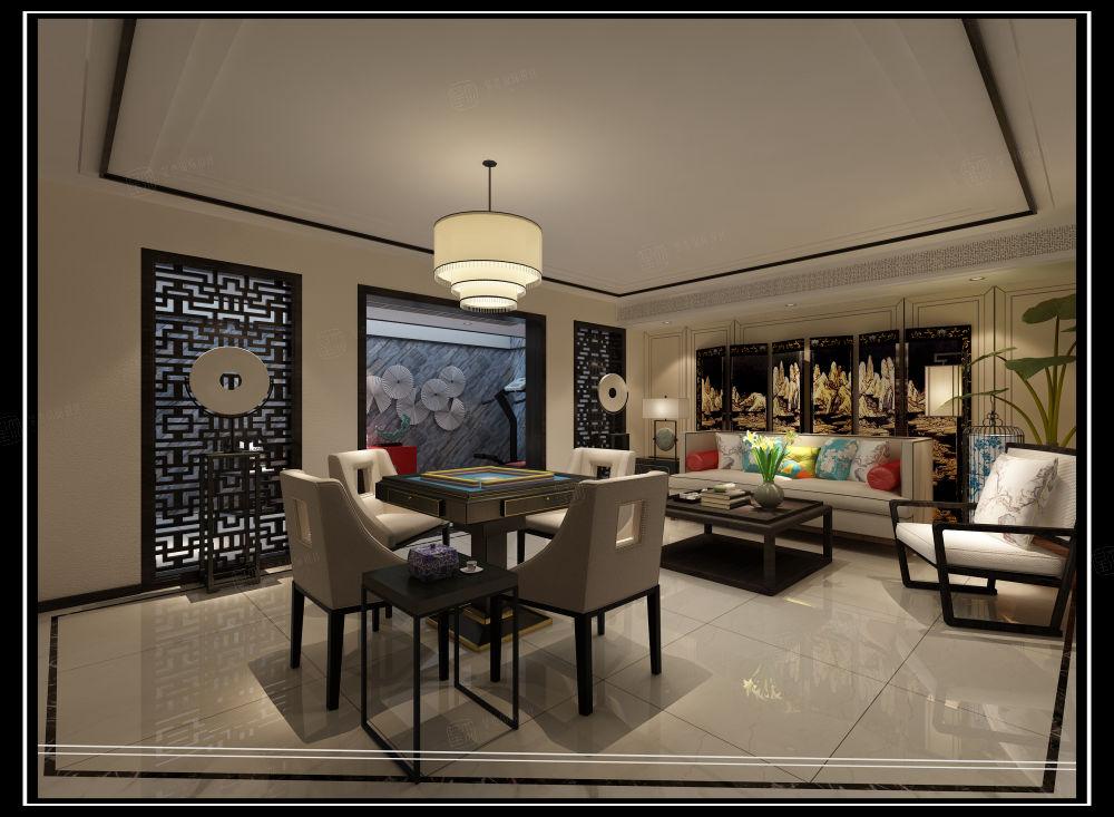 新中式_江南和园别墅装修餐厅效果图