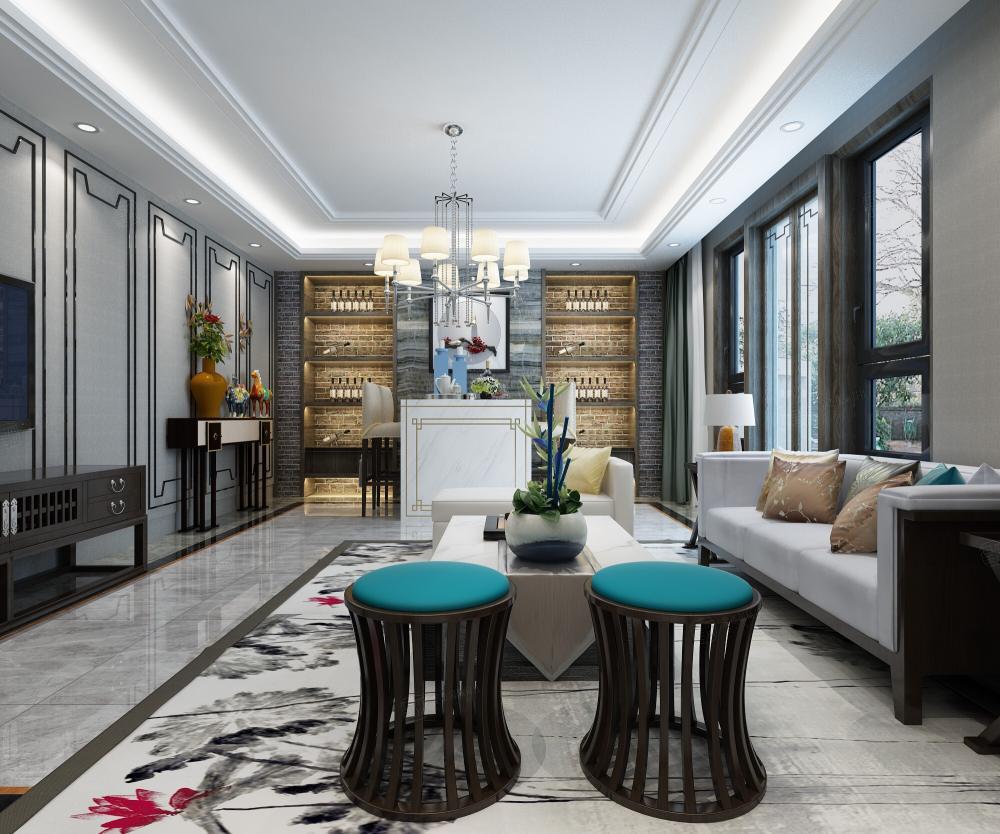 新中式风格-融公馆锦御名邸装修客厅效果图
