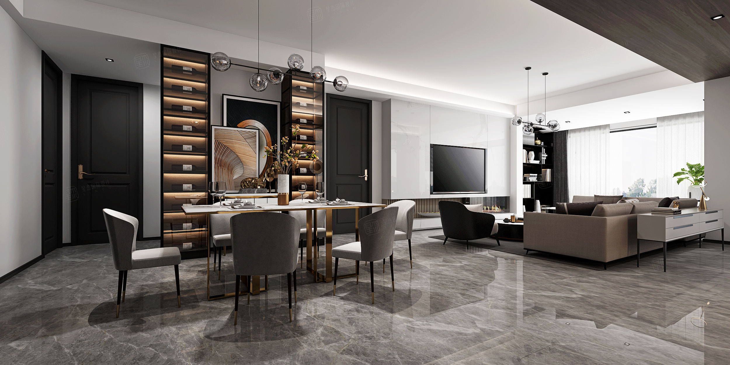 中环国际  现代装修餐厅效果图