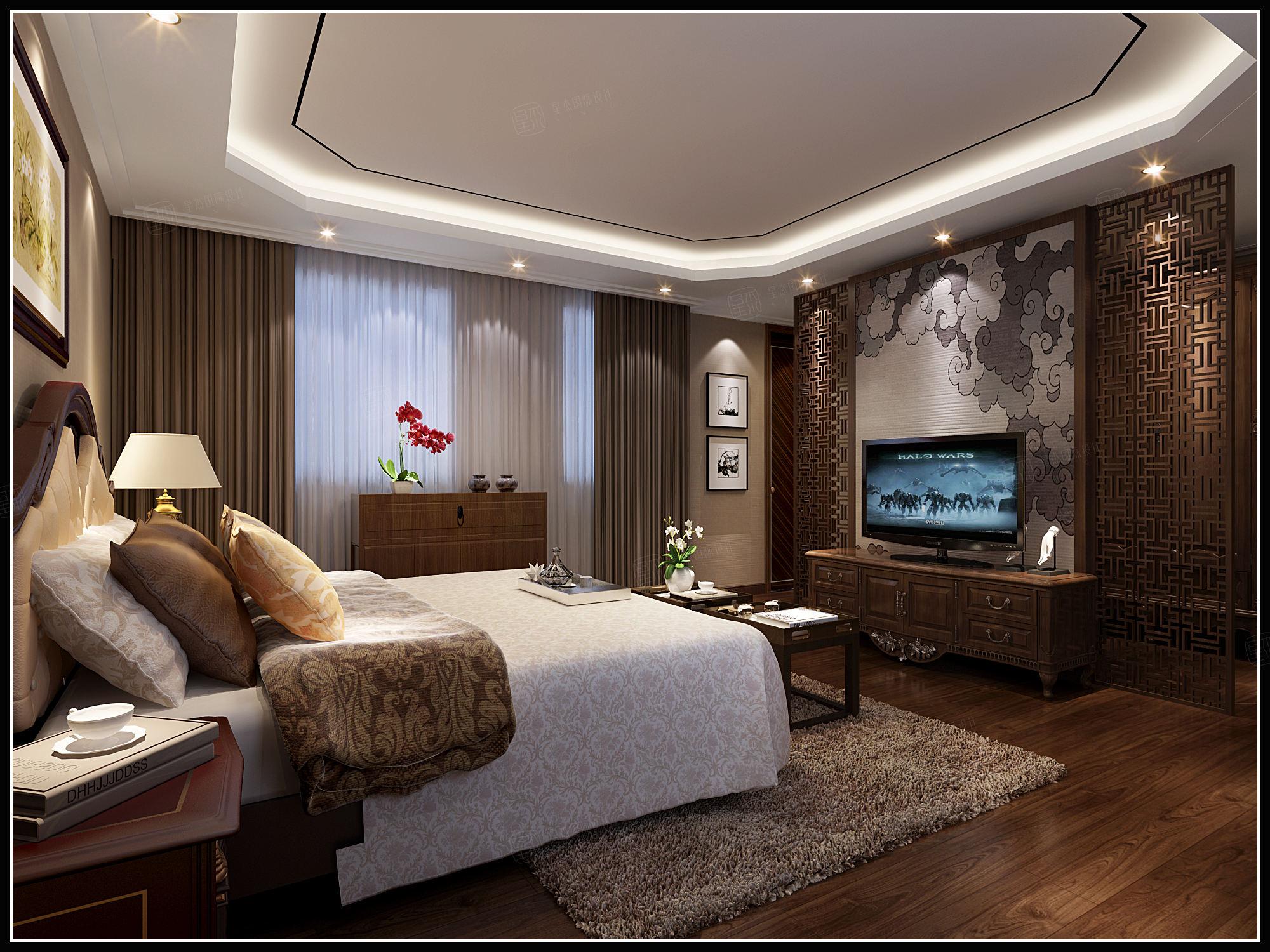 朗诗绿岛 现代中式装修卧室效果图