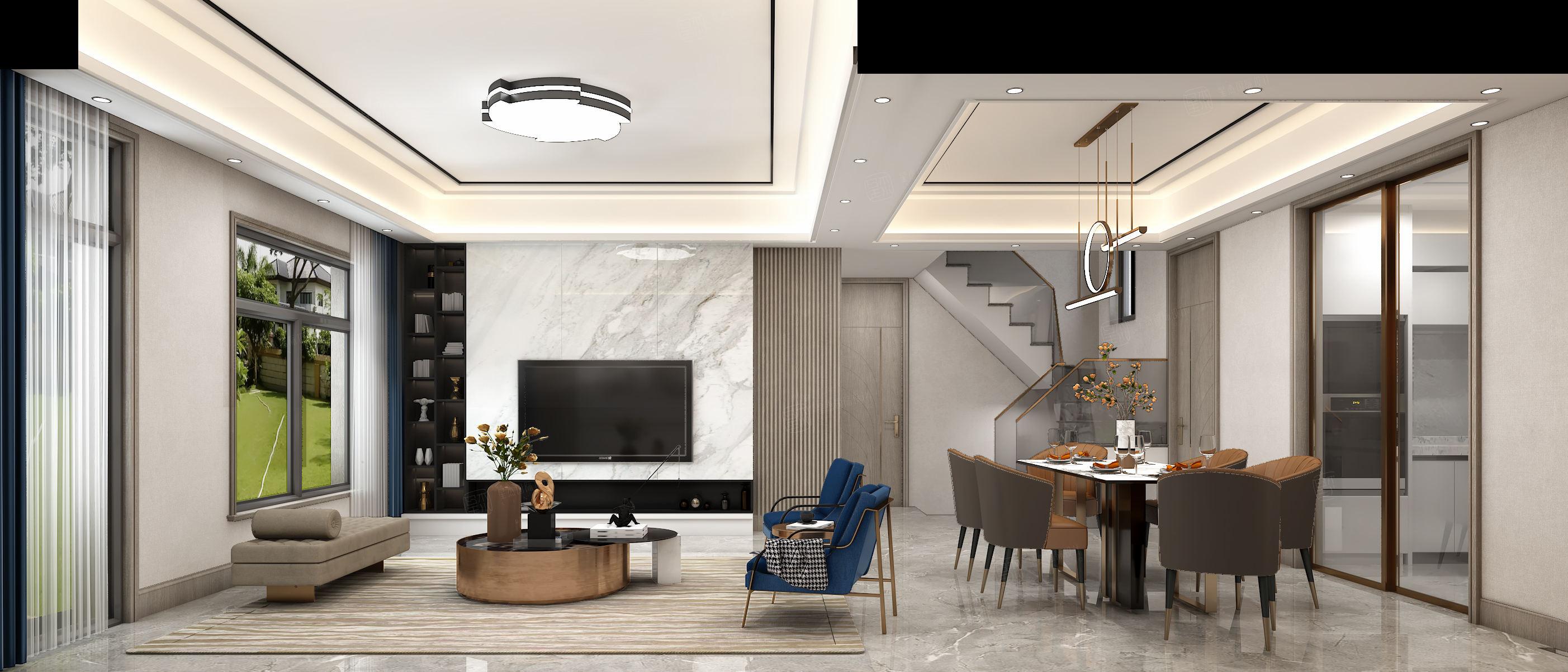 新弘墅园  现代轻奢装修客厅效果图