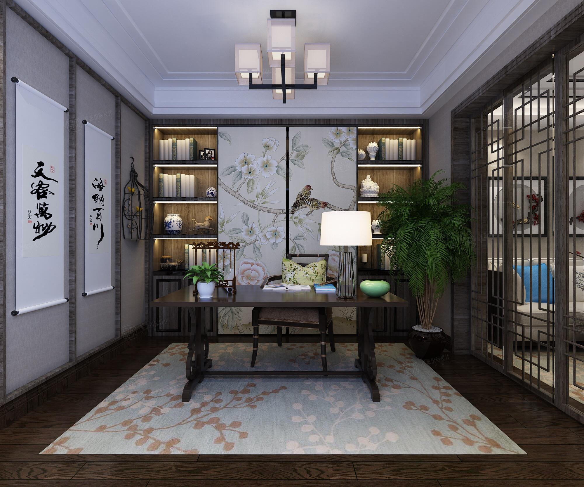 新中式风格-融公馆锦御名邸装修书房效果图