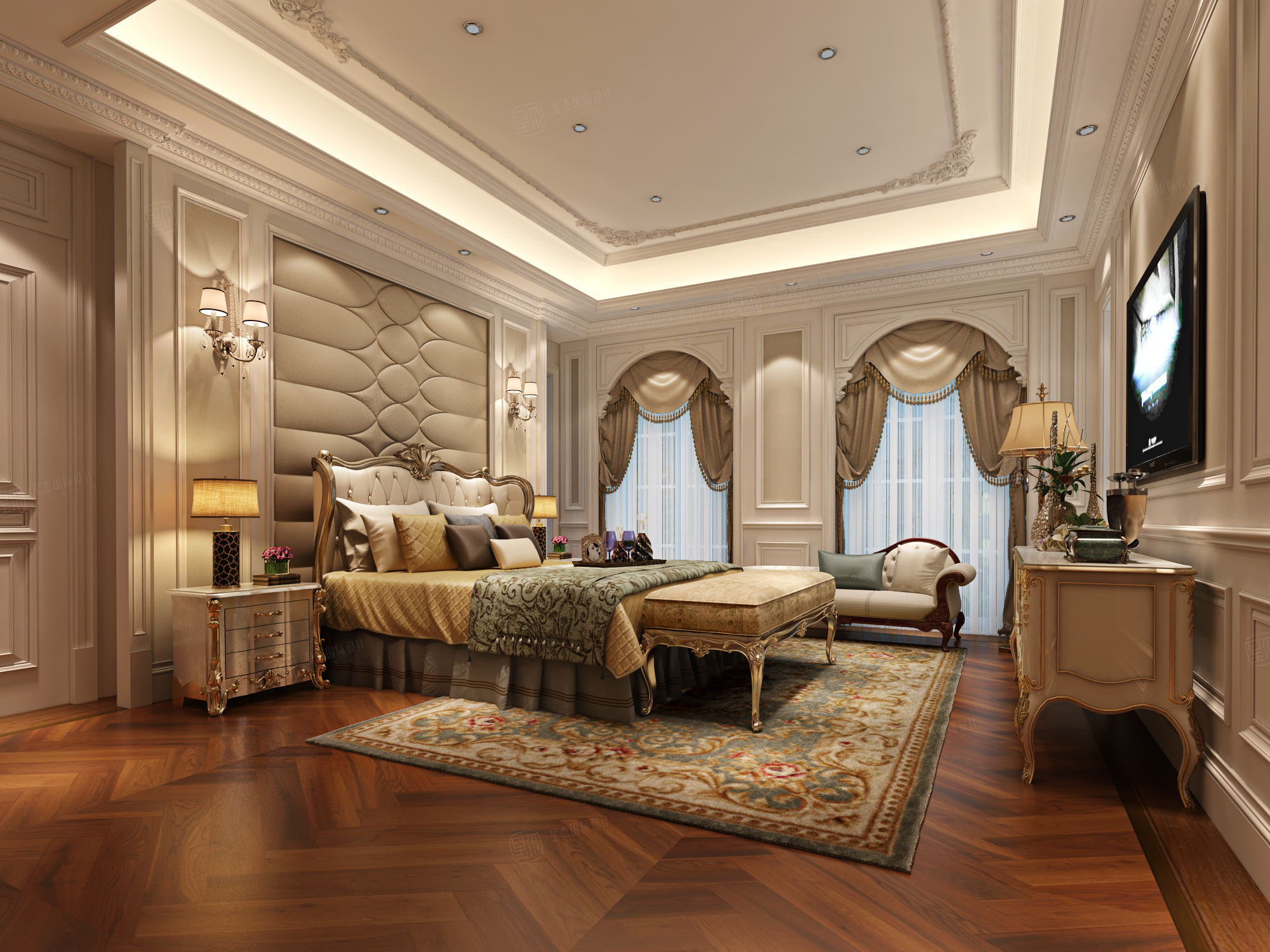 绿城玲珑苑 欧式装修卧室效果图