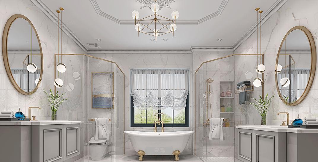 世纪珑墅   法式轻奢装修卫生间效果图