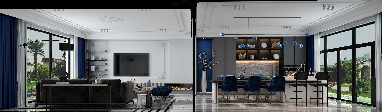 静安府 现代轻奢装修客厅效果图