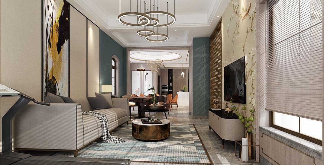 西郊古北佘山国际花园别墅   新中式装修起居室效果图