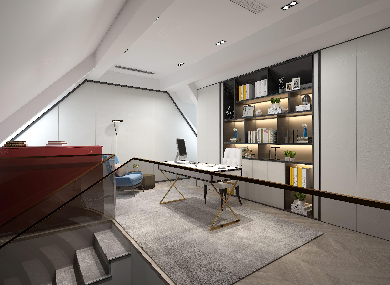 新弘墅园  现代轻奢装修书房效果图