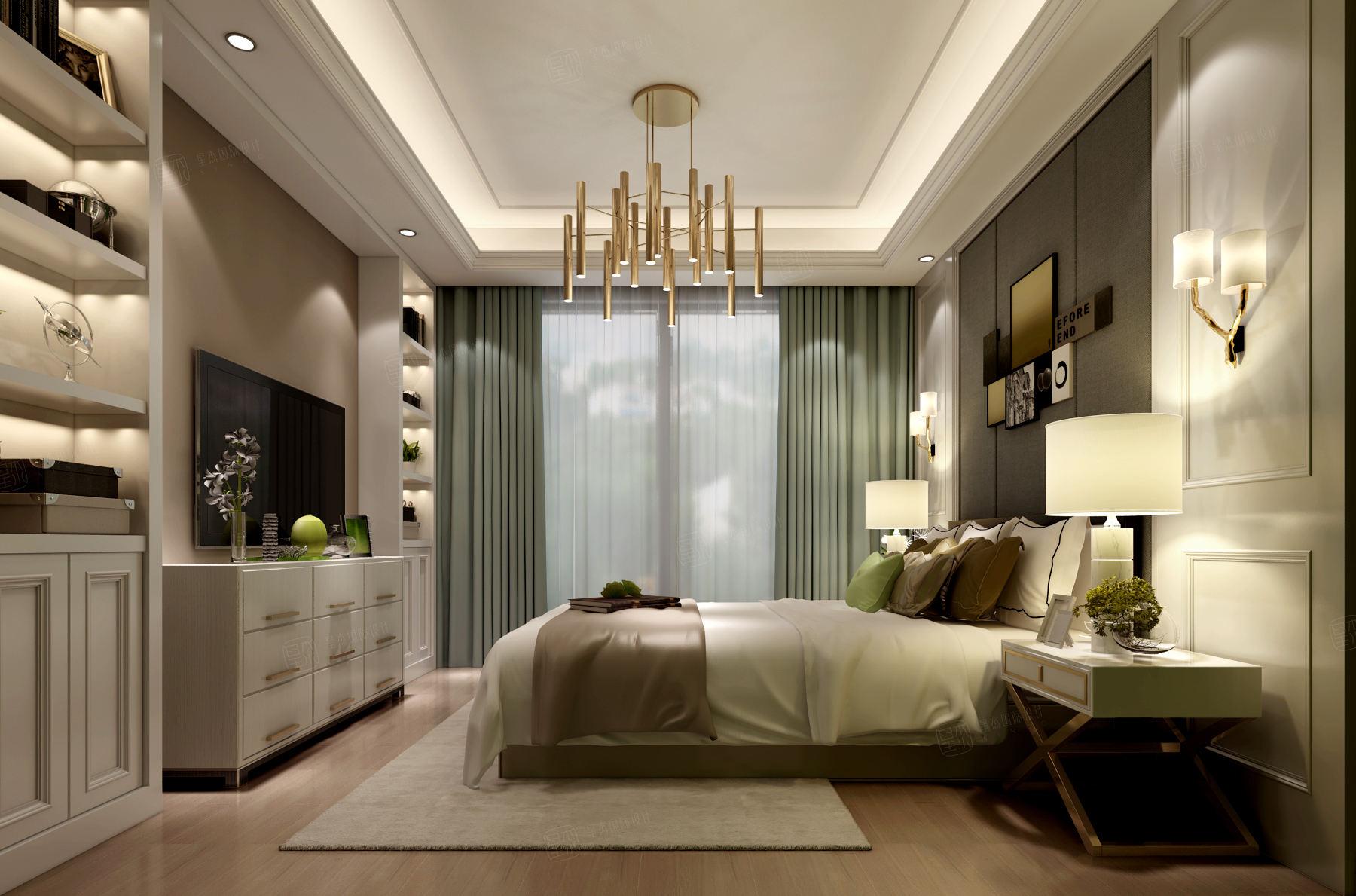 尚海郦景 现代简约装修卧室效果图