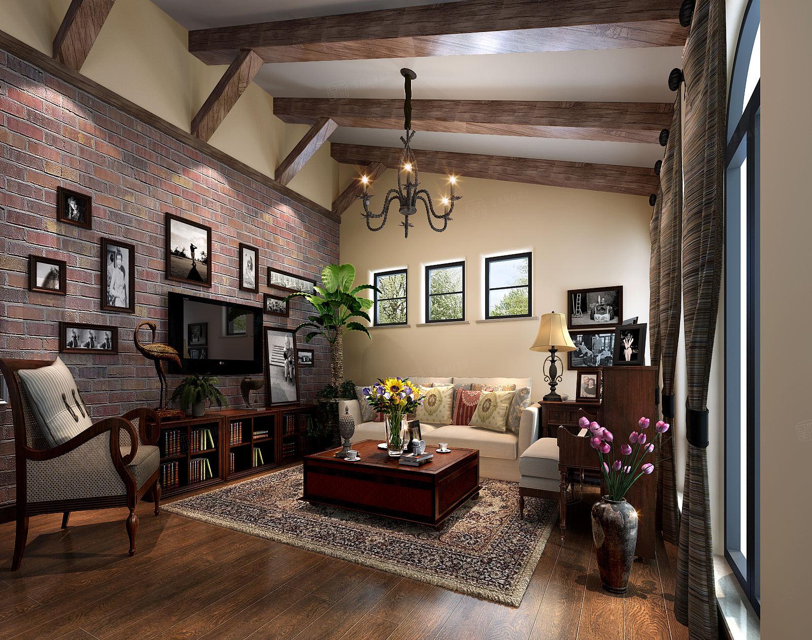 圣塔路斯 美式装修客厅效果图