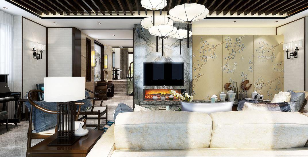 观庭别墅 新中式装修客厅效果图