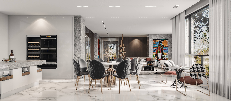 中星红庐   现代简约装修餐厅效果图