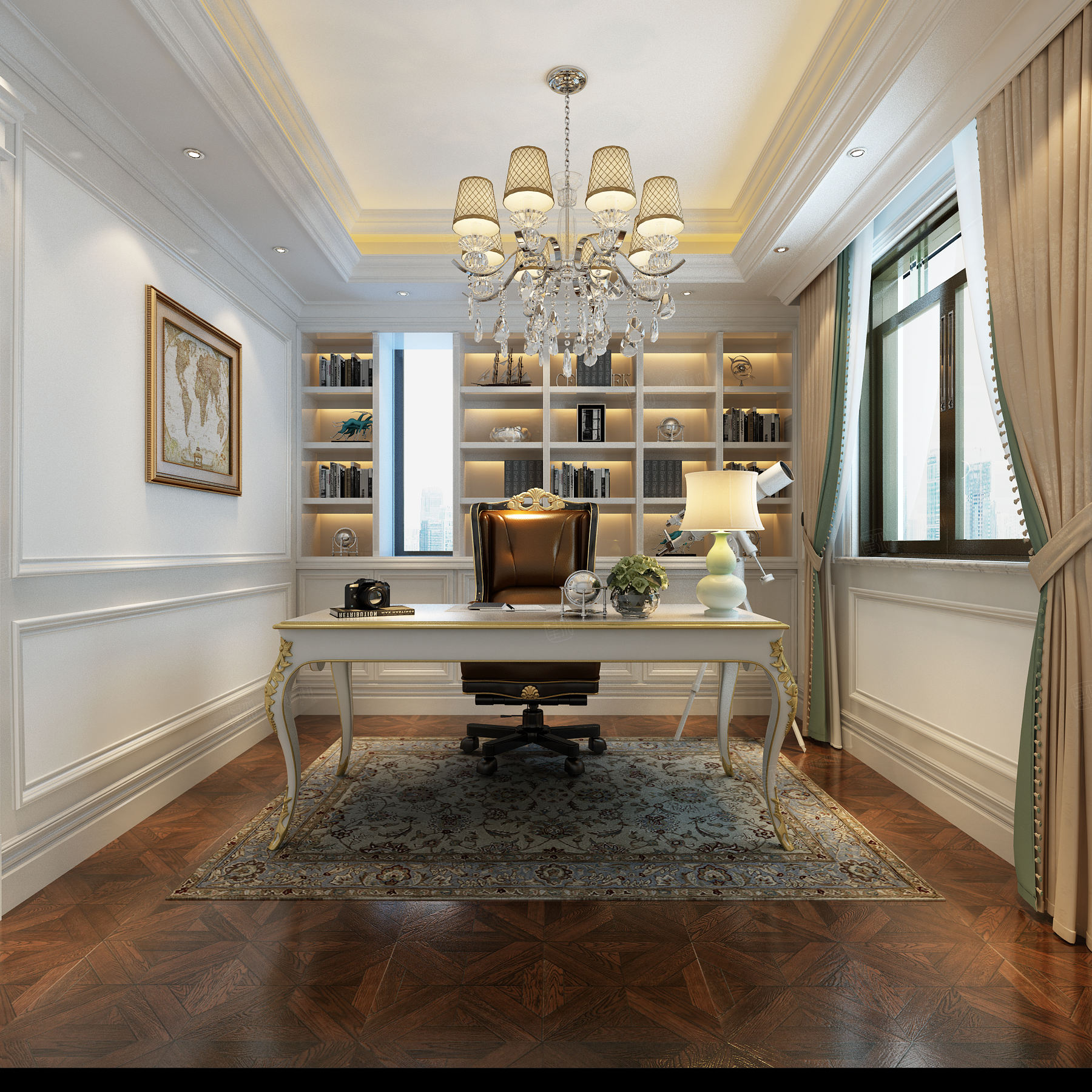 法式风格-依水和墅装修书房效果图