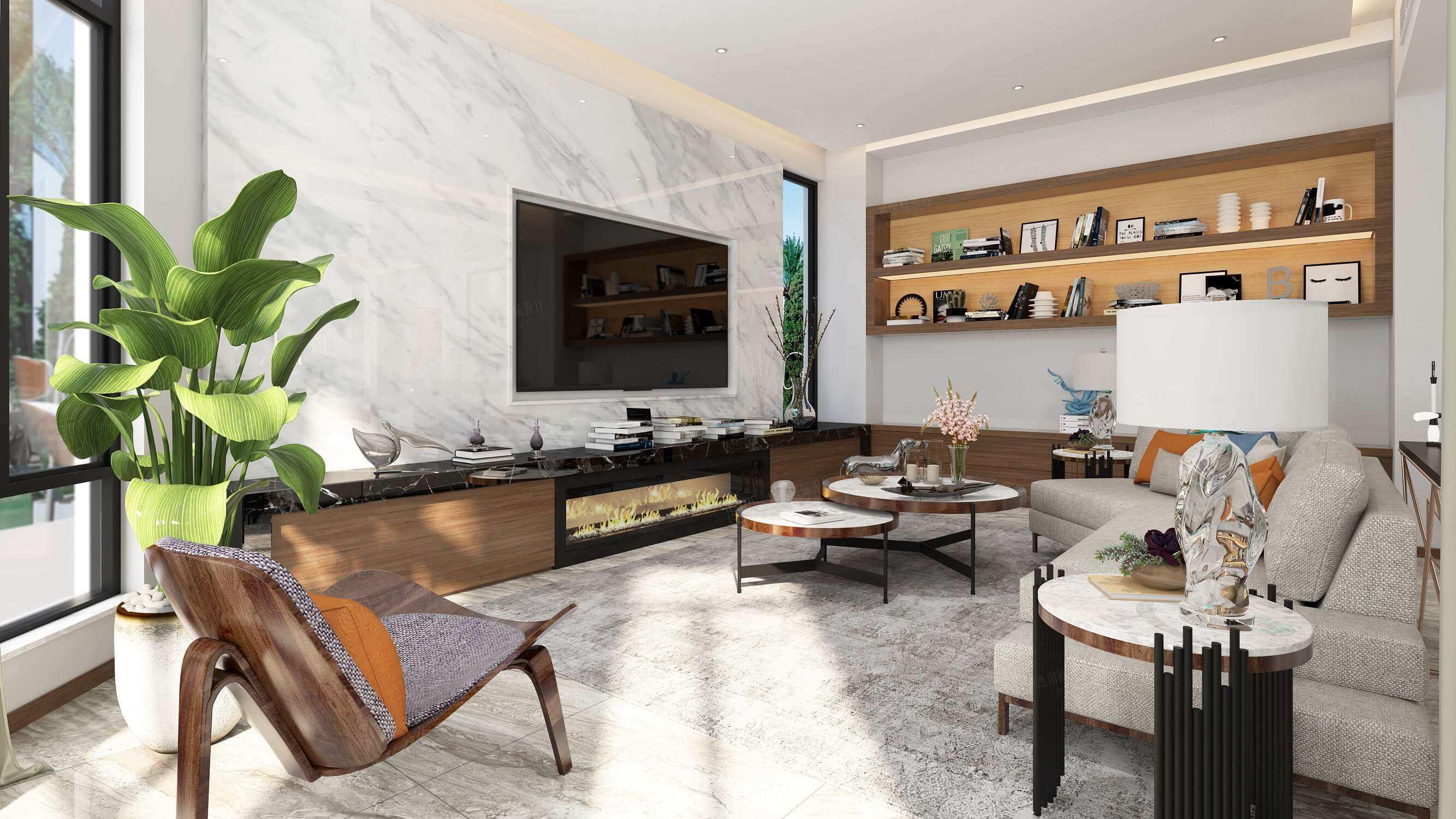 四季御庭 现代简约装修客厅效果图