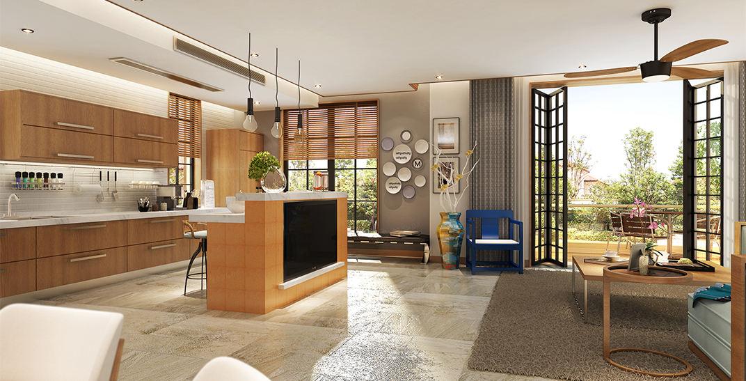 东郊紫园   新中式装修厨房效果图