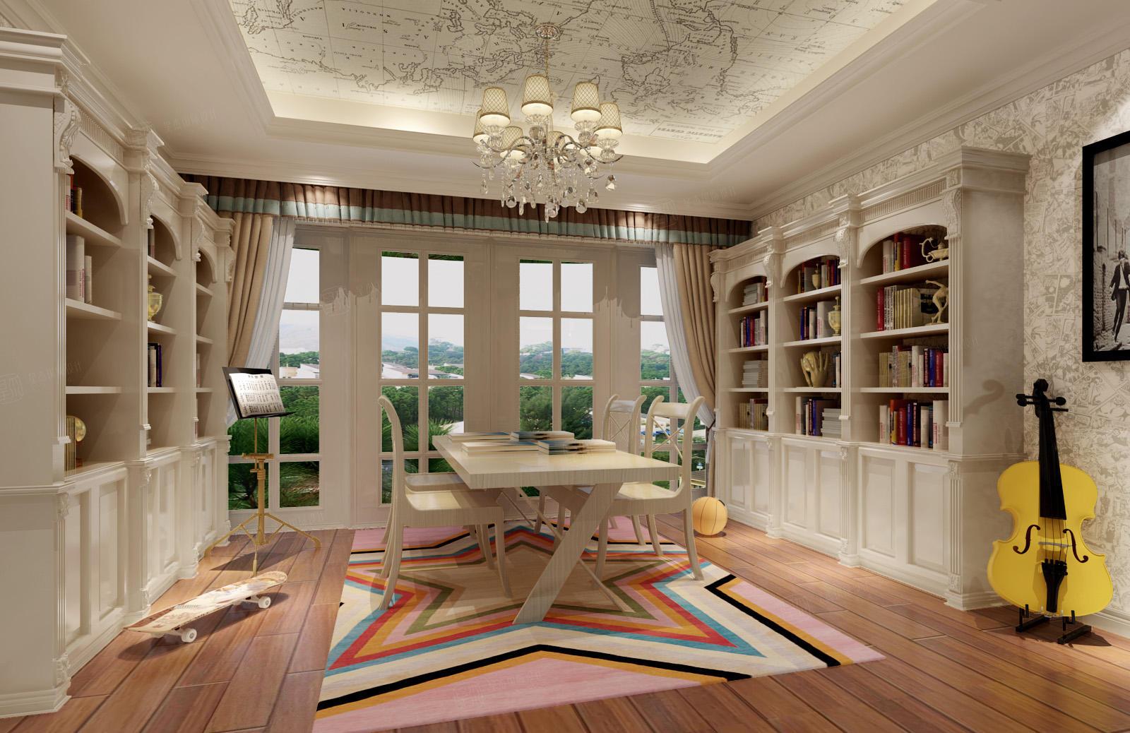 绿宝园 美式装修书房效果图