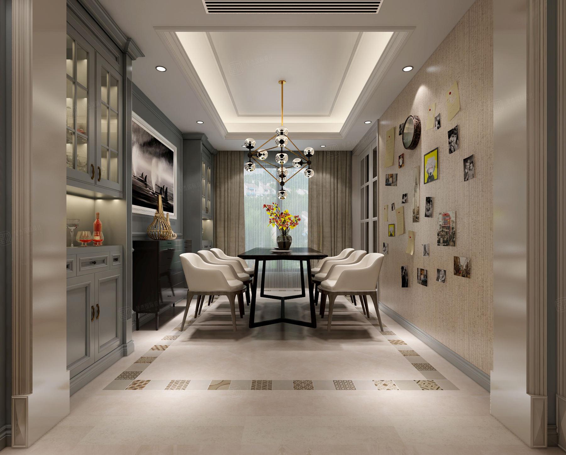 尚海郦景 现代简约装修餐厅效果图