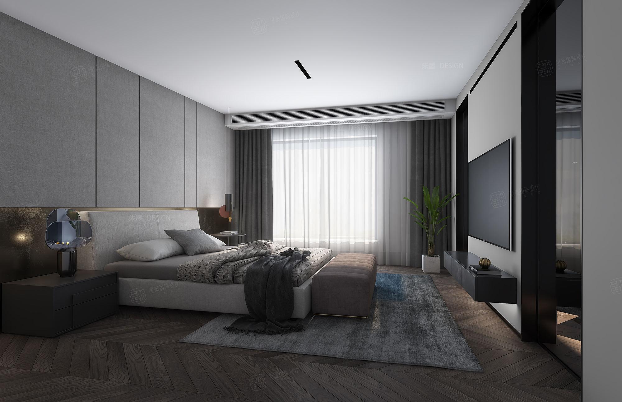 万科大家_现代高级风装修卧室效果图