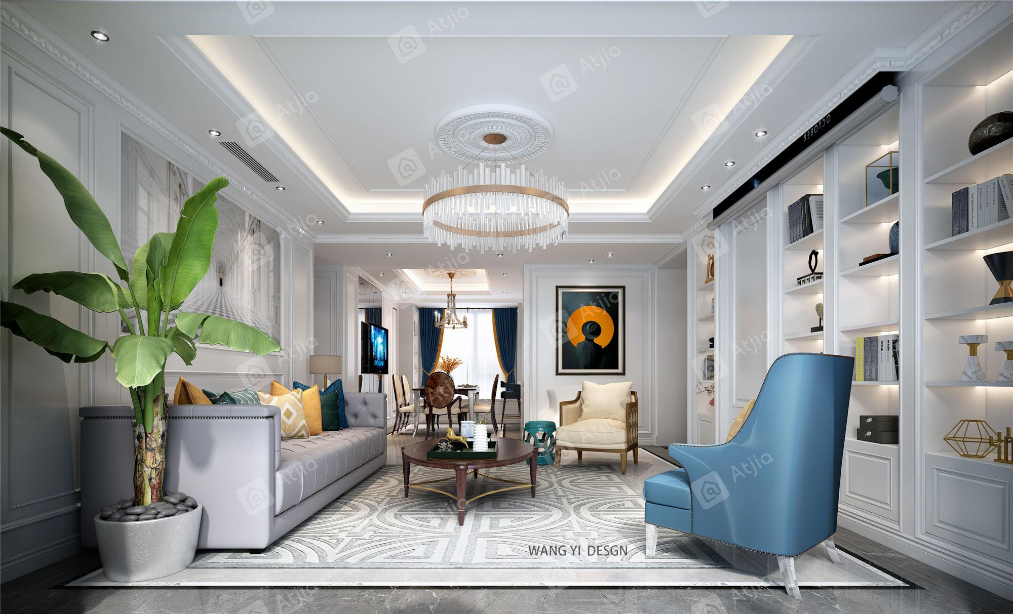 铂金时代 美式风格装修客厅效果图