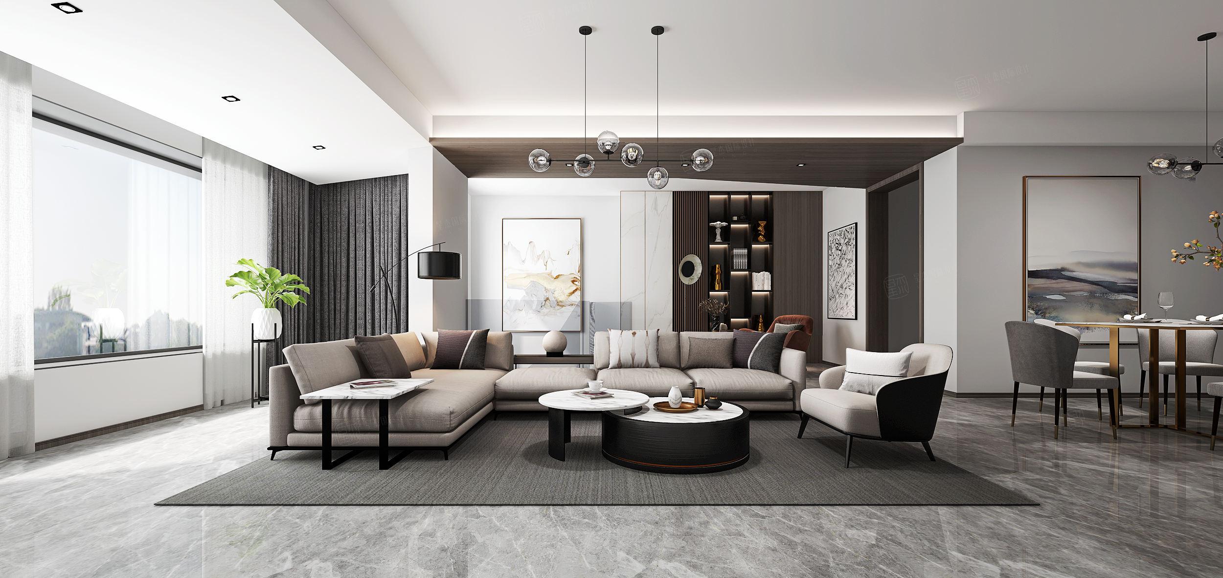 中环国际  现代装修客厅效果图