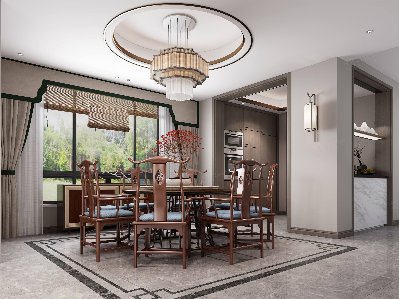 翠景苑  新中式装修餐厅效果图