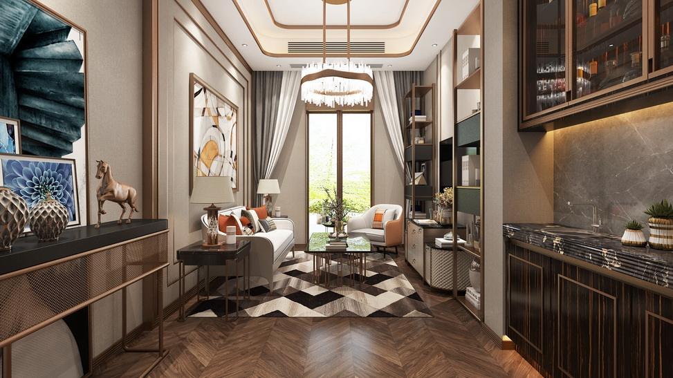 北上海 港式轻奢装修会客厅效果图
