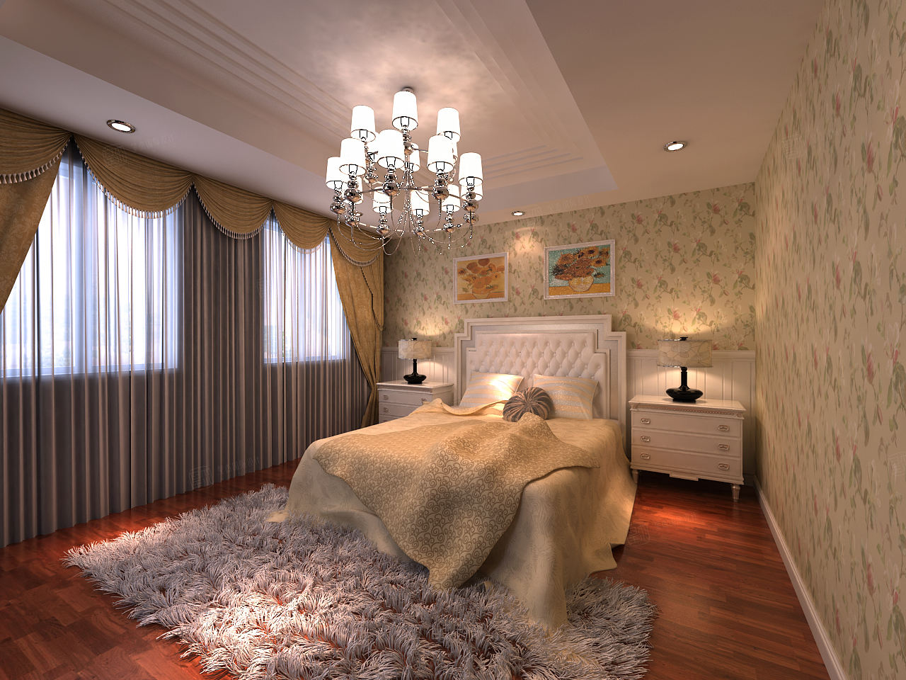 南郊中华园 欧式装修卧室效果图