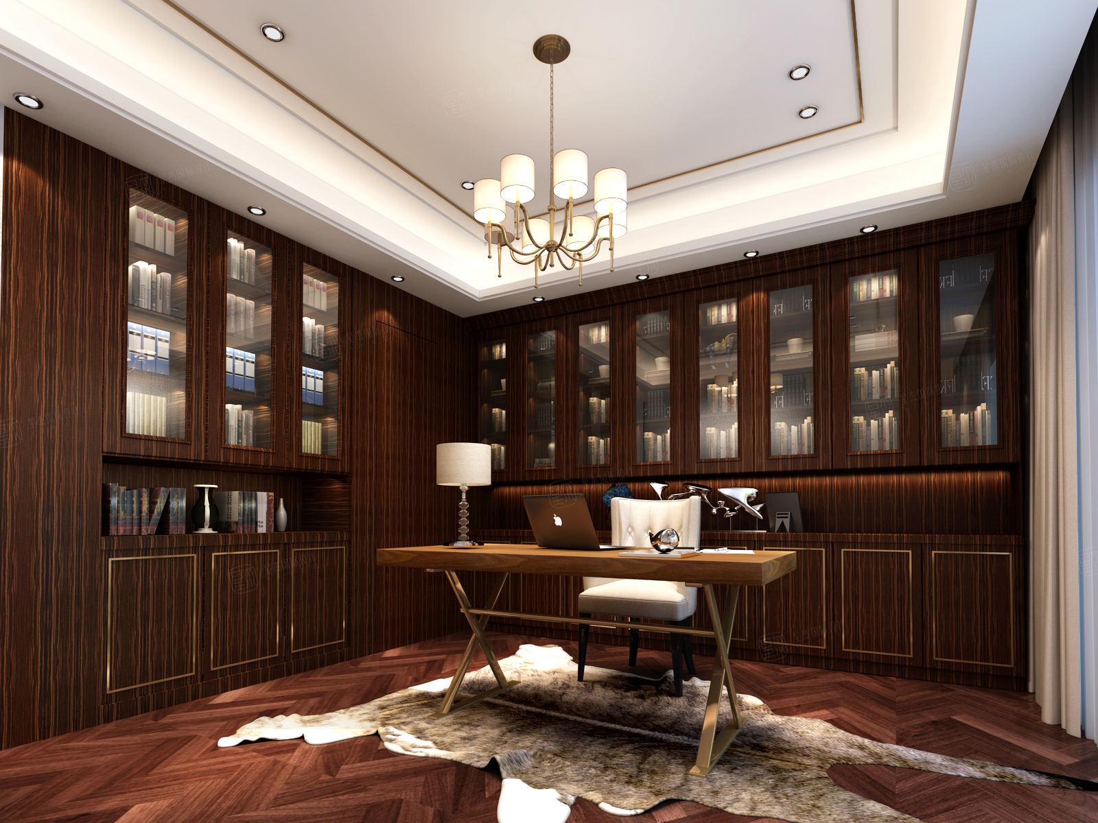 御翠园 现代风格装修书房效果图