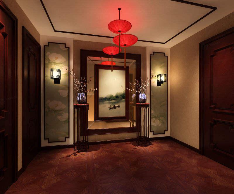 兰君名苑 中式装修门厅效果图