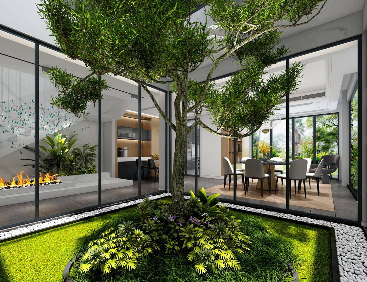 与自然的私语—和沁园装修中庭效果图
