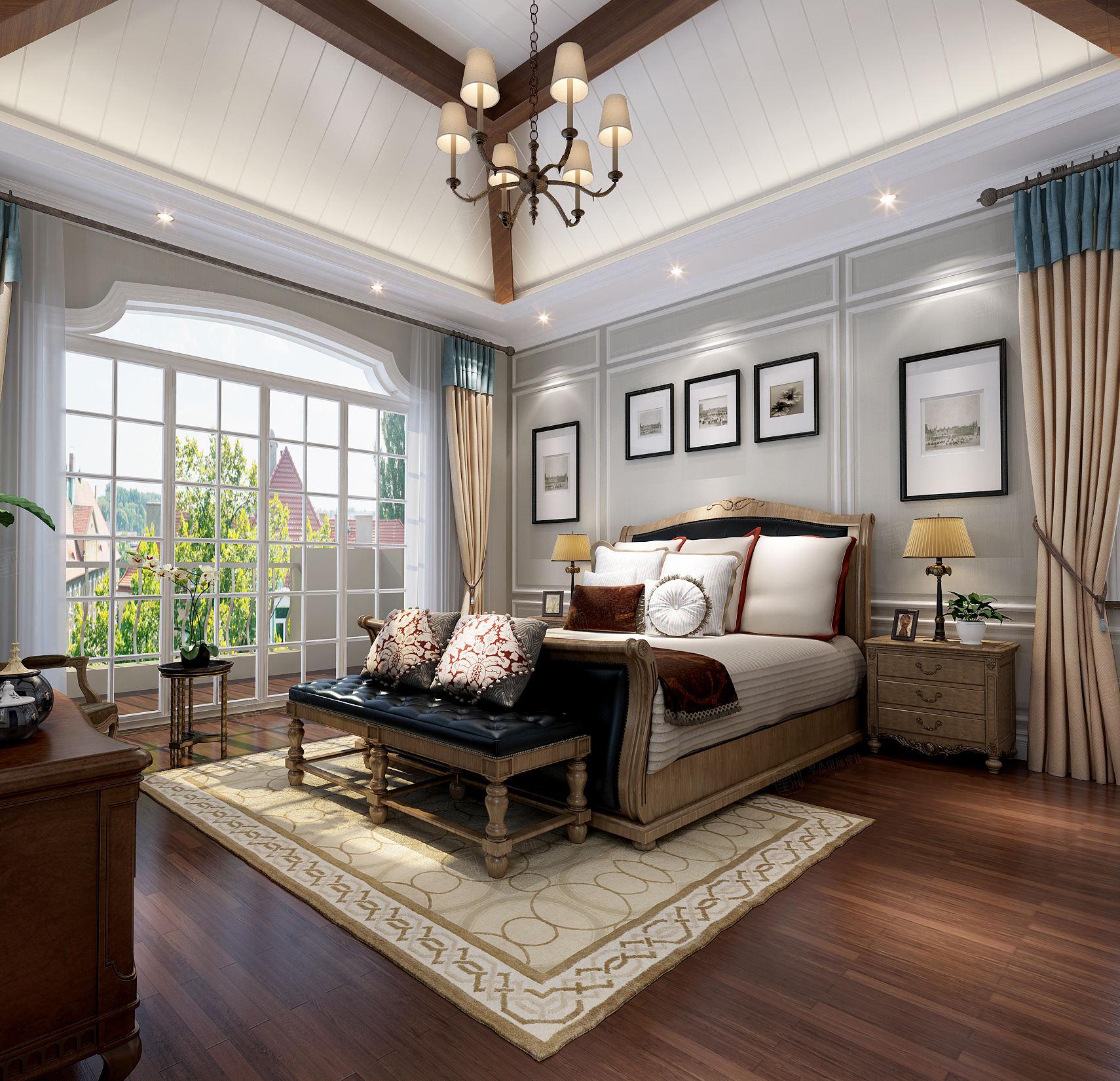 富力湾 西班牙风格装修卧室效果图