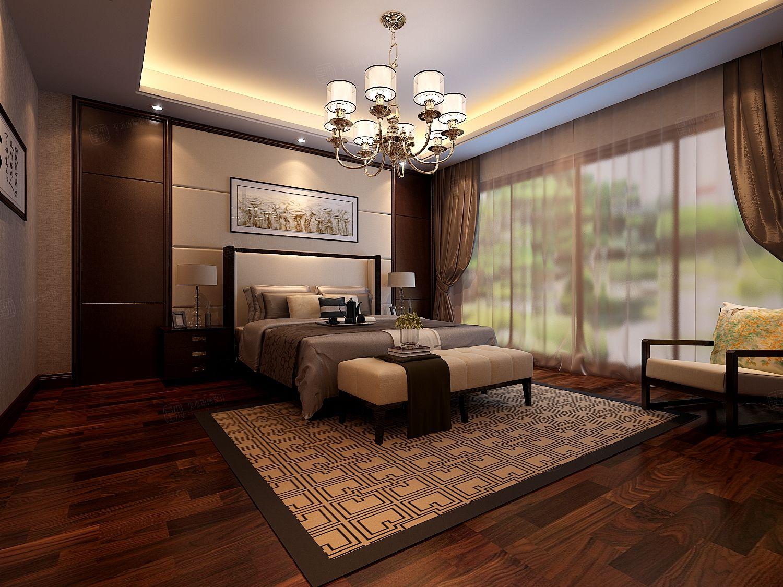 新中式-谷里别墅装修卧室效果图