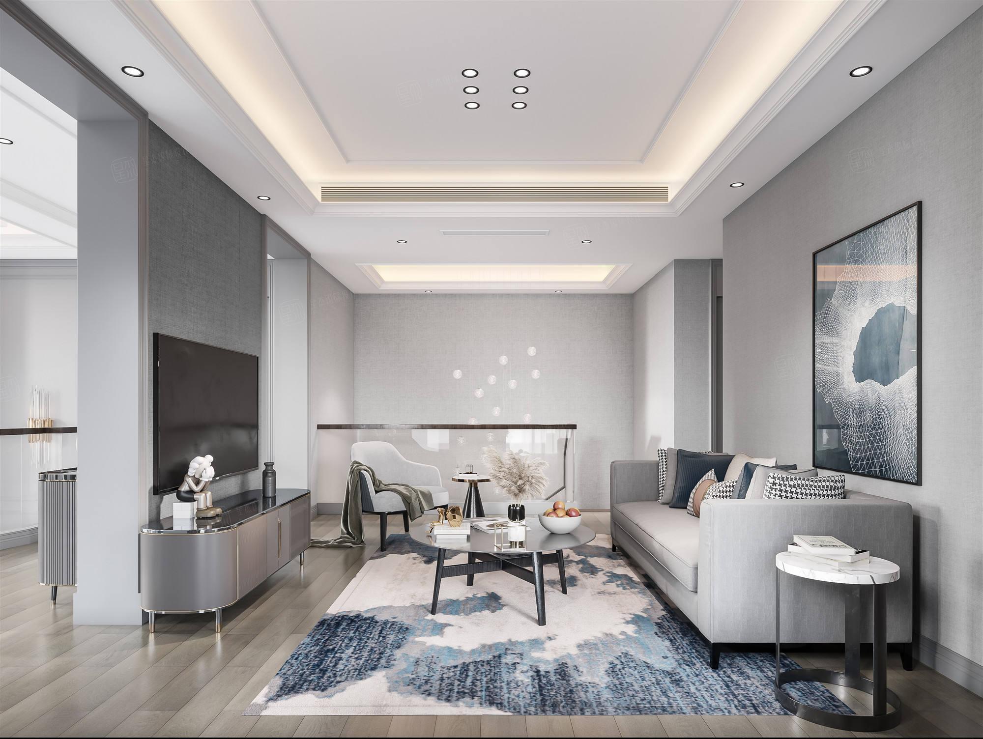 云间水庄  现代美式装修起居室效果图