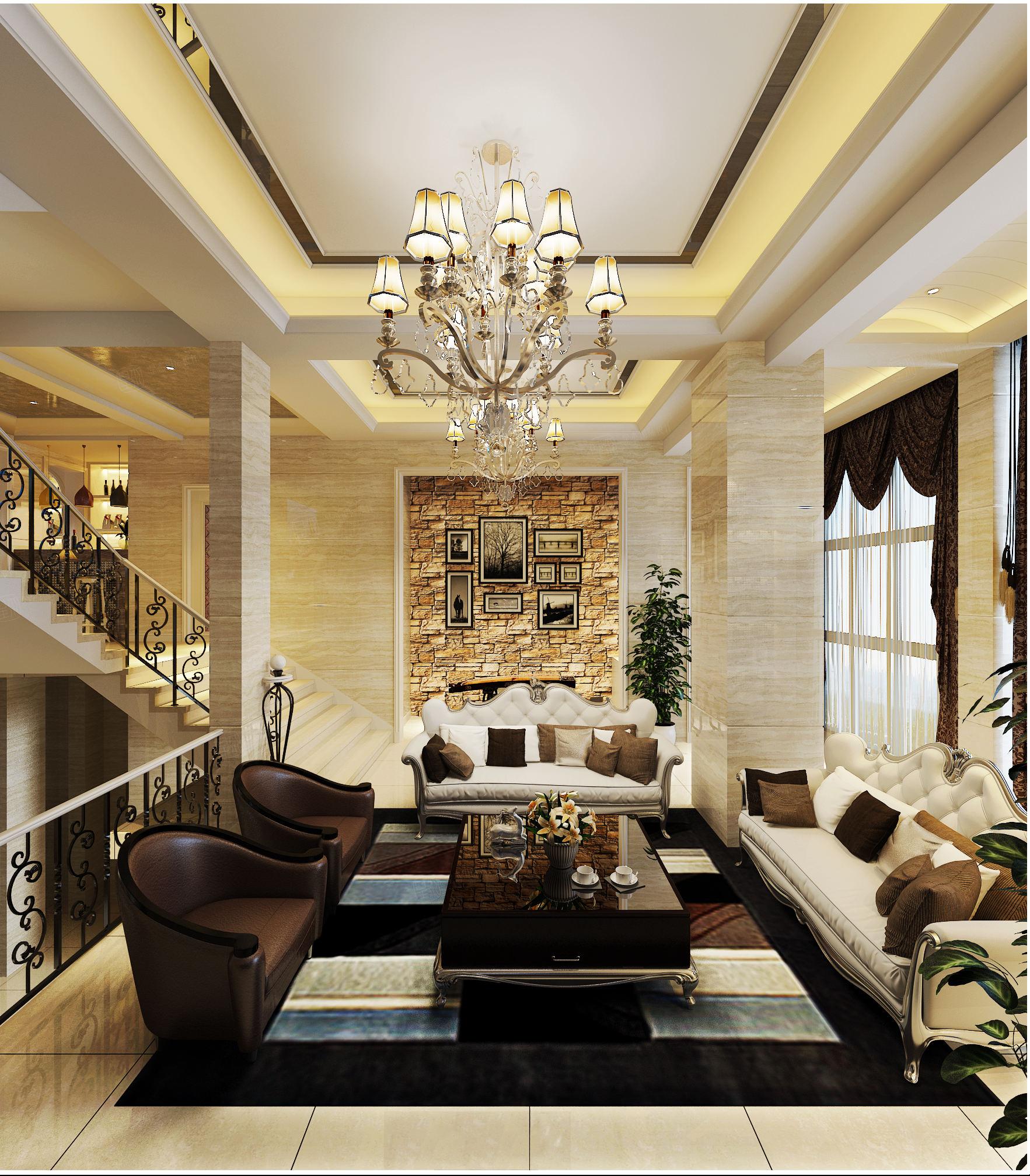 天籁园 新古典装修客厅效果图