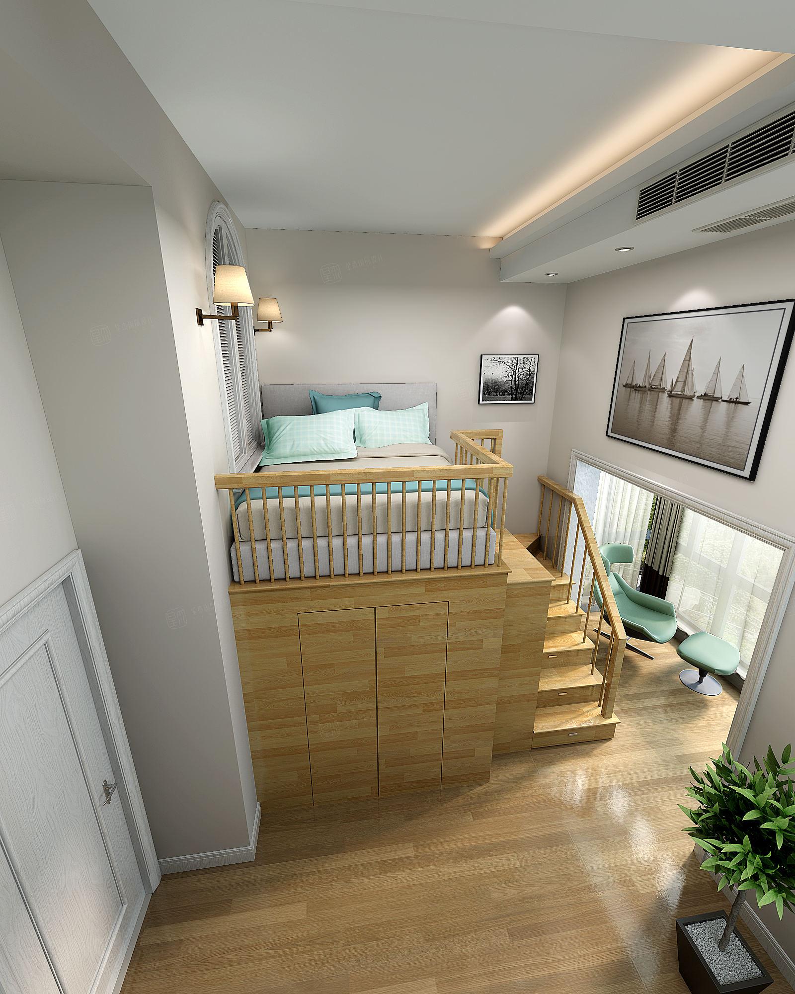 崇明绿地曼哈顿 美式装修卧室效果图