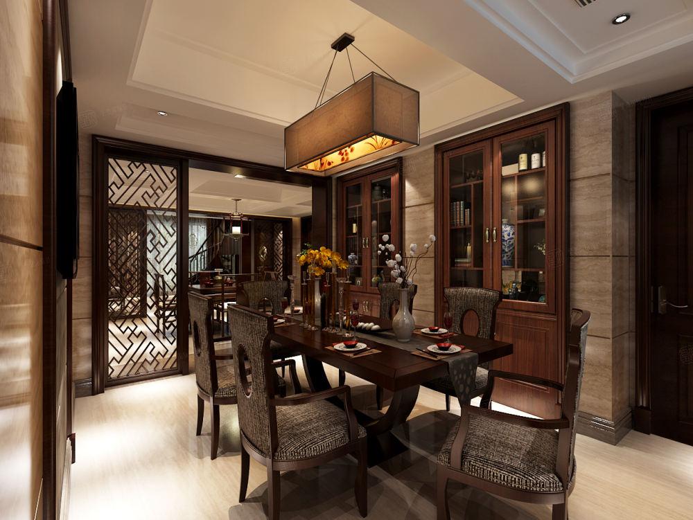 中邦城市花园 新中式装修餐厅效果图