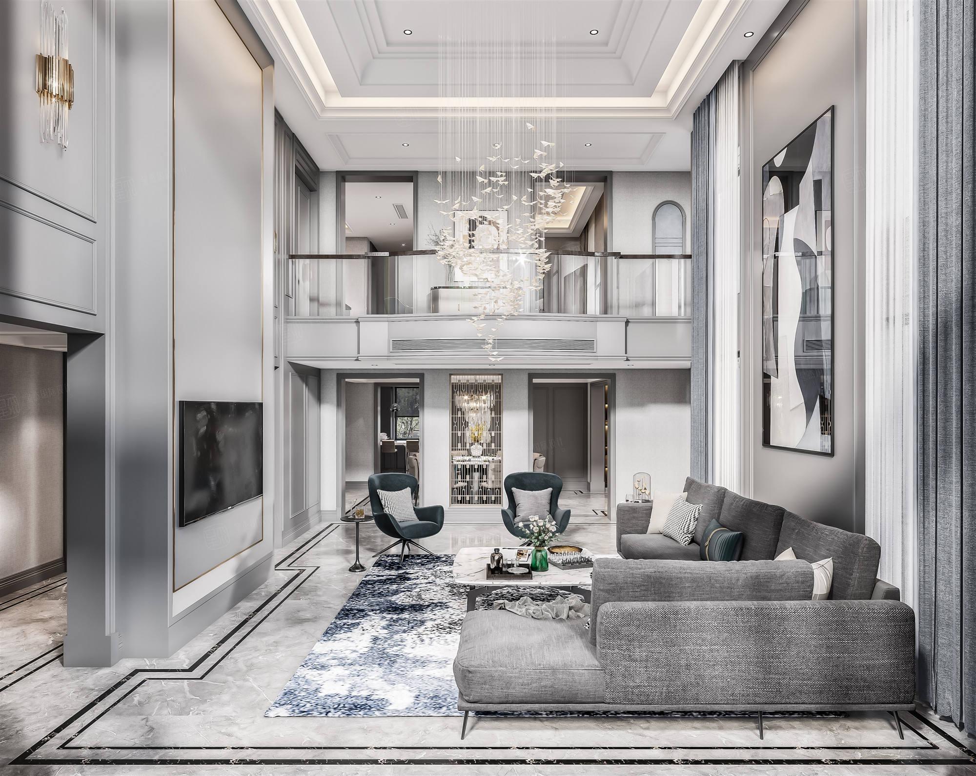 云间水庄  现代美式装修客厅效果图