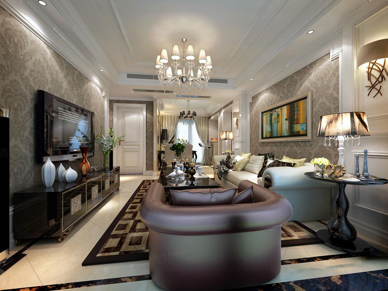 宝华现代城 新古典装修客厅效果图