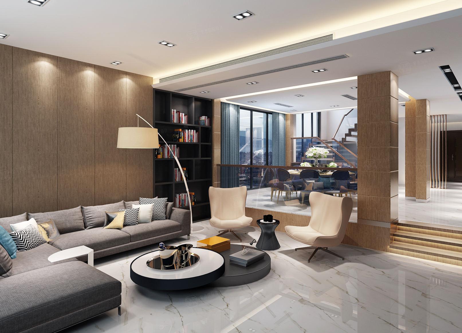中邦上海城 现代简约装修会客厅效果图