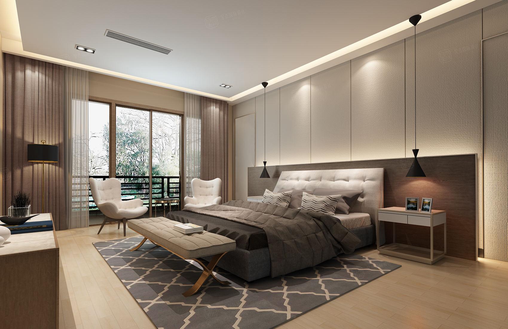 中邦上海城 现代简约装修卧室效果图