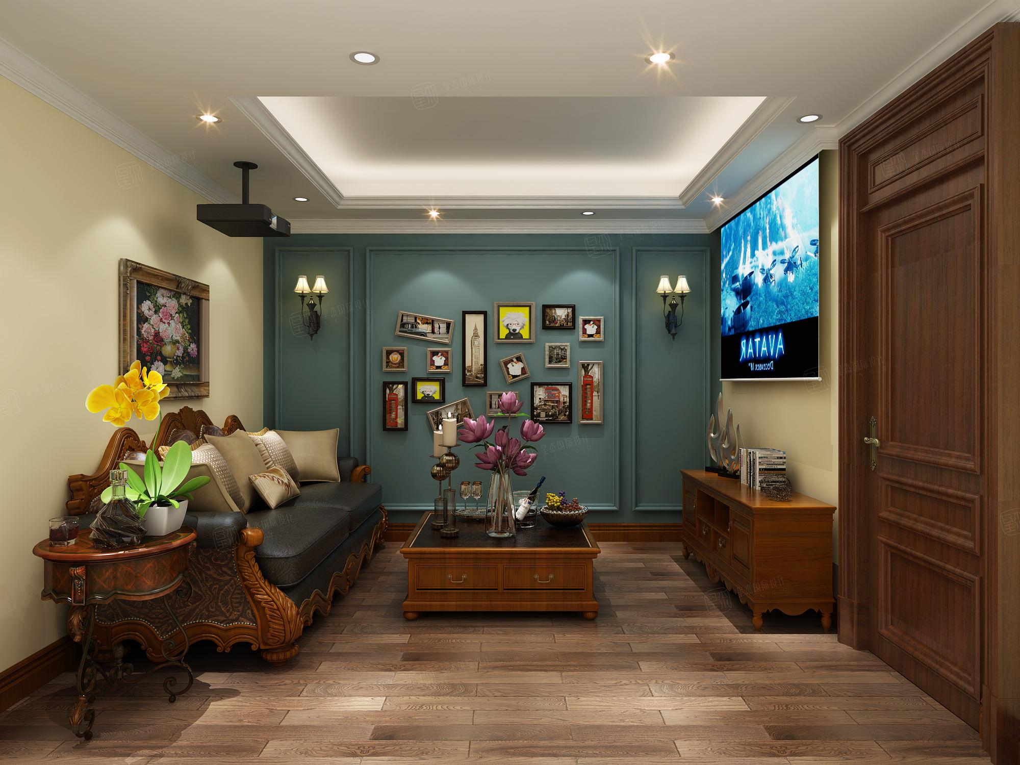 简美风格-依水和墅装修休闲厅效果图