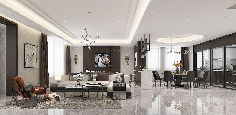 长安府_灰色主调的优雅装修客厅效果图