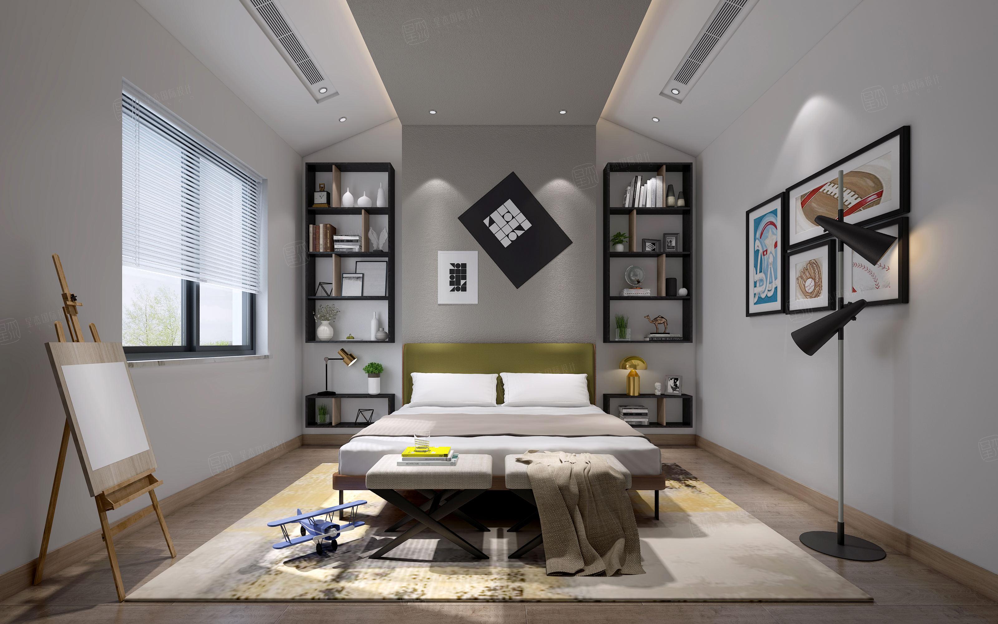 湖光里_中式高雅与简朴之美装修卧室效果图