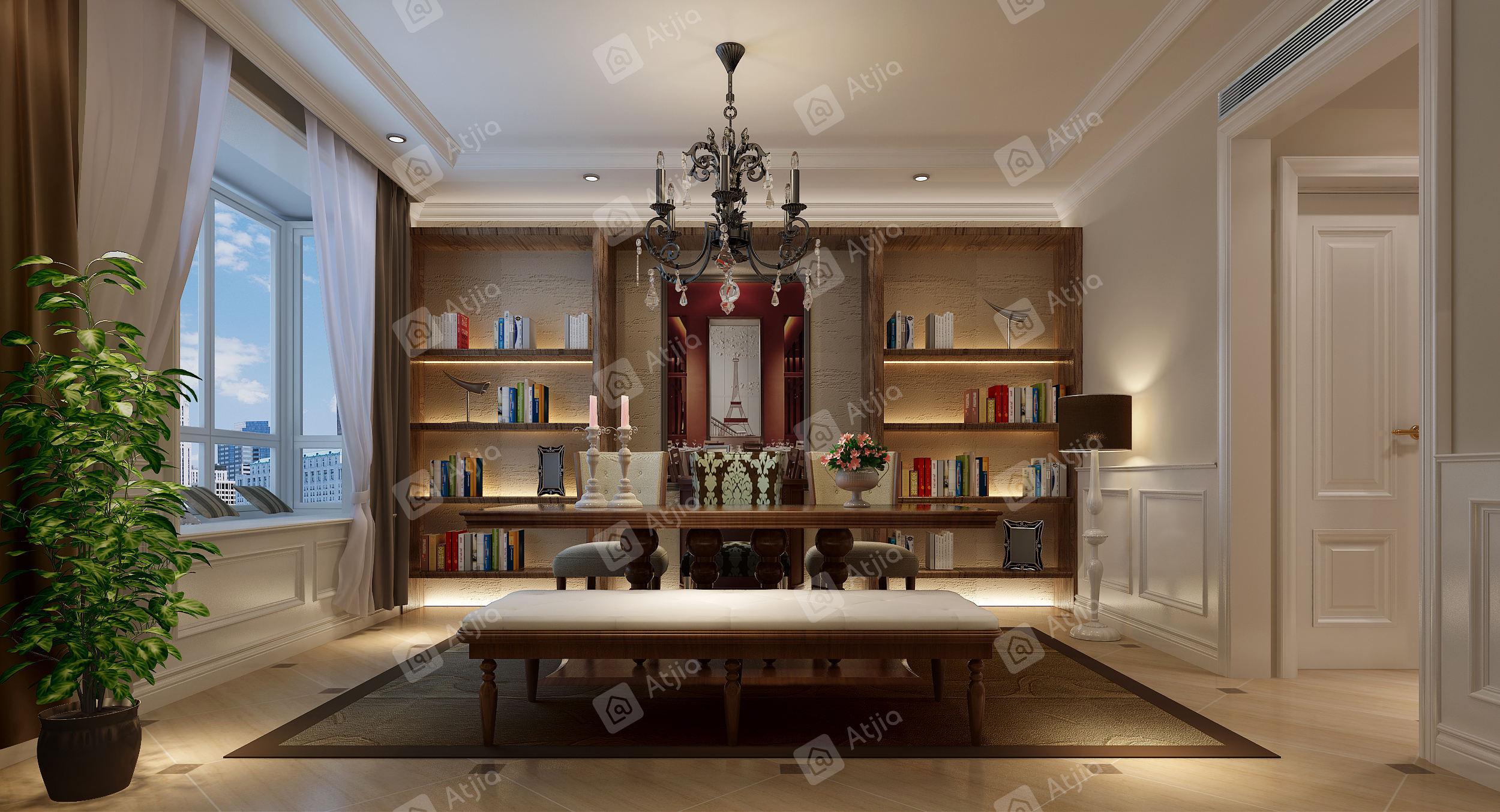 上海知音 欧式装修书房效果图