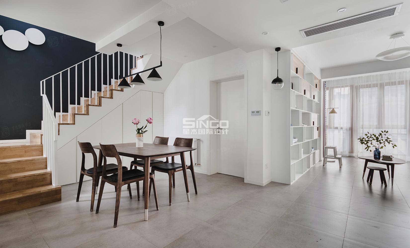 申江豪城实景 现代简约装修餐厅效果图